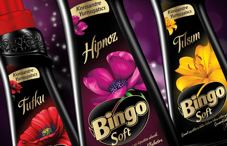 """To emphasize the difference and """"precious"""" image of the series, black was preferred as main colour. Feminine and soft form of the bottle was heated with fabric wave alike details. Flower figures were applied on bottleneck to give """"pure perfume effect is just below the cap"""" message. Fragrance was also referred with flower visuals applied on the labels. #packaging #design #bottle #softener #premium"""