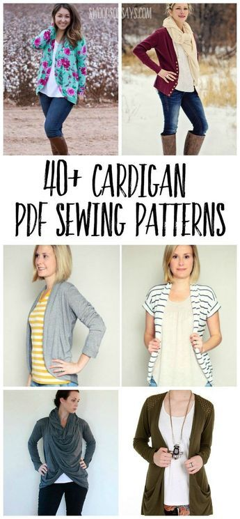 A big list of over 40 cardigan PDF sewing patterns with the size, price, and des…