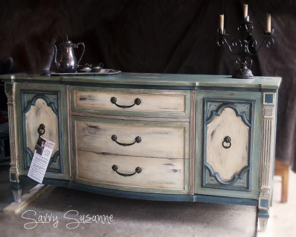 Buffet done in Duck Egg Blue, Aubusson Blue, Old White and a touch of Paloma. Dark Waxed. custom piece by Savvy Susanne -- http://www.savvysusanne.blogspot.com/