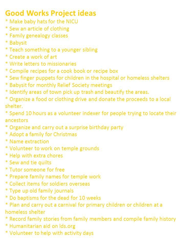 Good works project ideas.                                                       …                                                                                                                                                                                 More