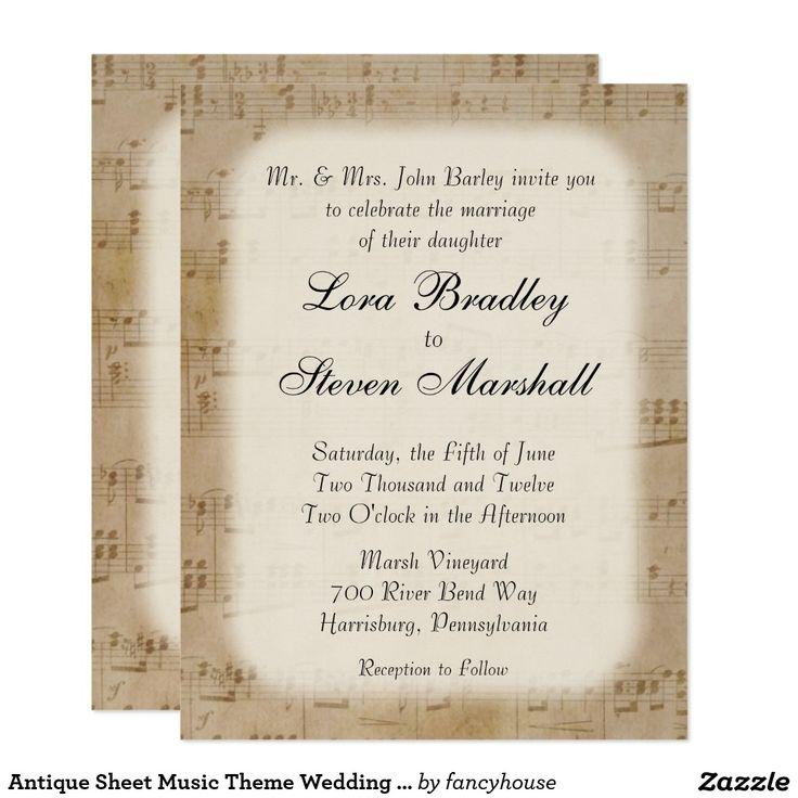 Antique Sheet Music Theme Wedding Invitation 40% off