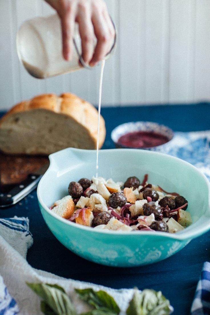 #RethinkBeef Global Recipe Swap : East Coast Panzanella Salad - a mash-up of the Halifax donair and the classic Italian bread salad. #spon