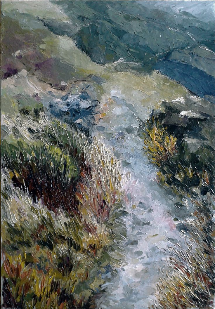 The mountains on the island Syros. Oil on canvas.