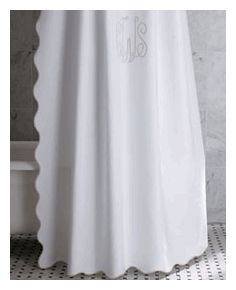 Monogrammed Scalloped Shower Curtain