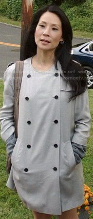 Joan's beige double breasted collarless coat on Elementary.  Outfit Details: https://wornontv.net/22089/ #Elementary