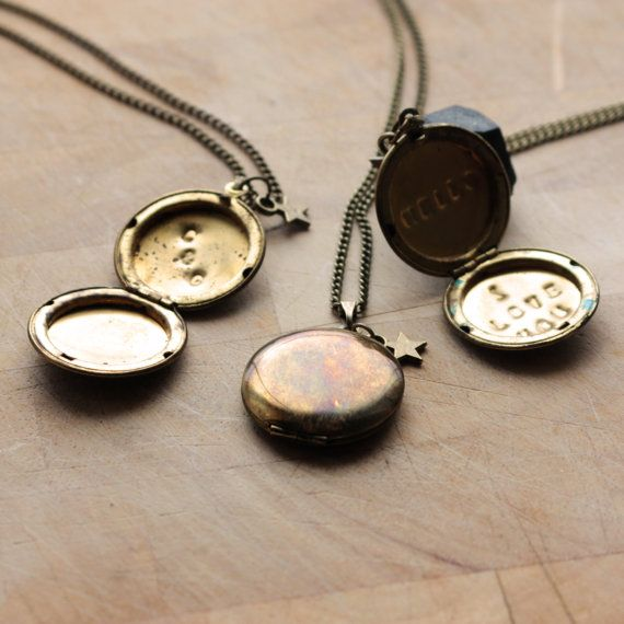 Personalised Secret Message Locket Necklace, Brass. Special Sentimental Mothers Day Gift For Her Mum Hand Stamped Initials Jewellery Bronze