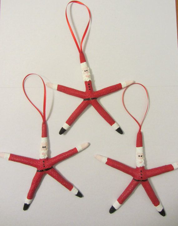 Starfish Santa Ornaments  Set of 3 Santa Ornaments  by CereusArt, $15.00