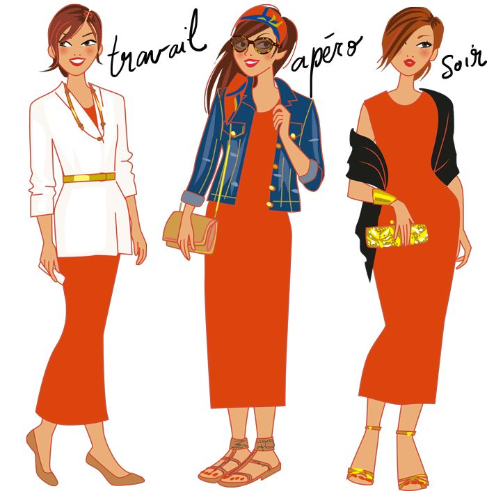 Illustrations mode ; la maxi-robe