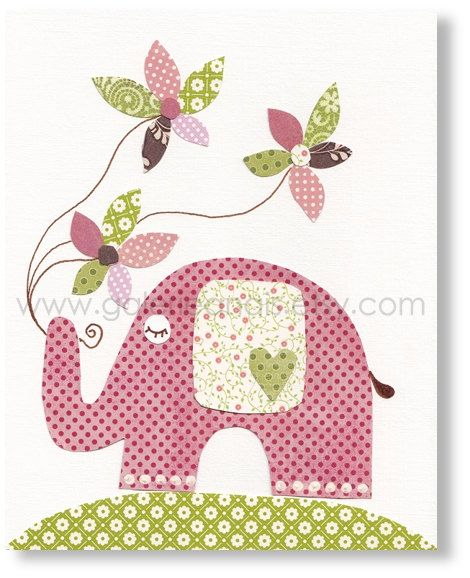 elephant with flowers artworkWall Art, Nurseries Wall, Baby Girl Rooms, Nursery Art, Art Prints, Nursery Decor, Baby Girls Room, Nurseries Art, Baby Nurseries