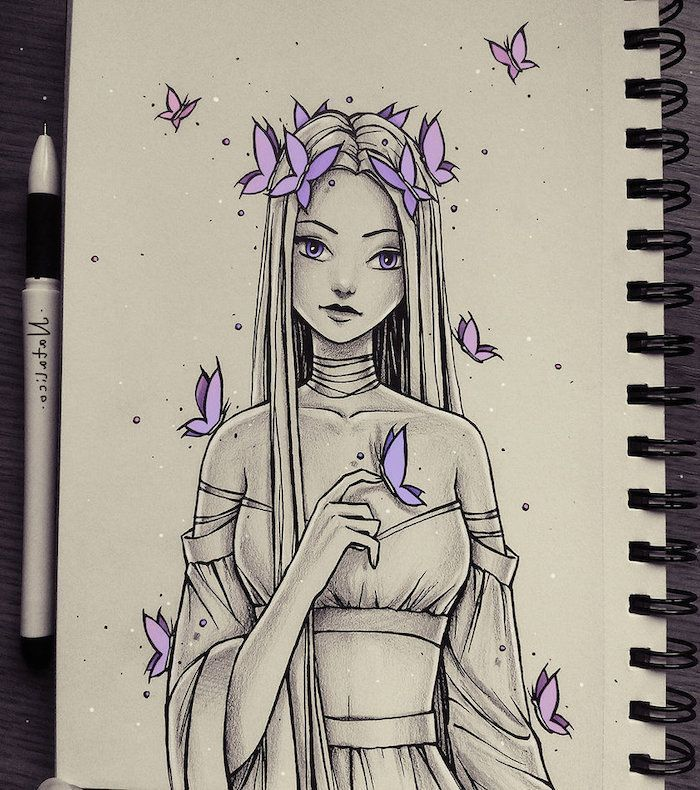 langes Haar, lila Schmetterlinge, weißer Hintergrund, wie man Schritt für Schritt ein Gesic