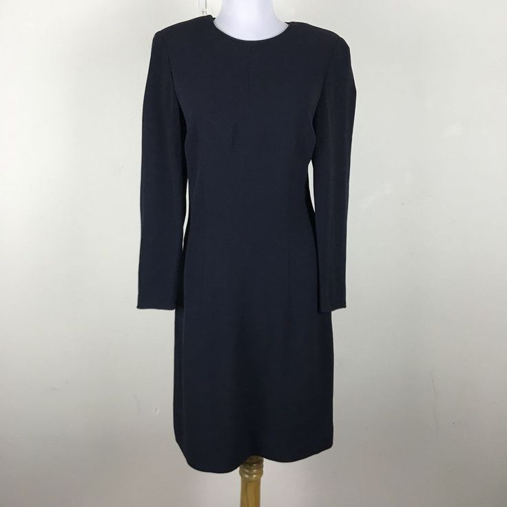 Vintage 1990s Giorgio Armani Dress Navy Blue Sheath Rayon V Neck Italy S M #GiorgioArmani #Sheath