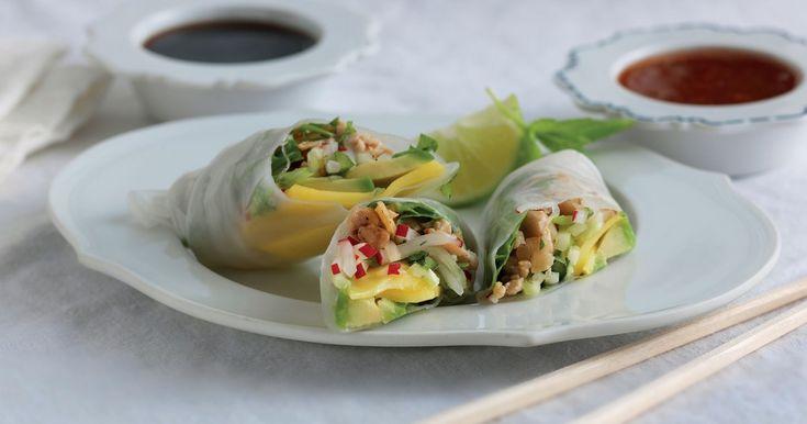 Vietnamesiska vårrullar i rispapper, med smak av koriander, chili, lime och teriyakisås.