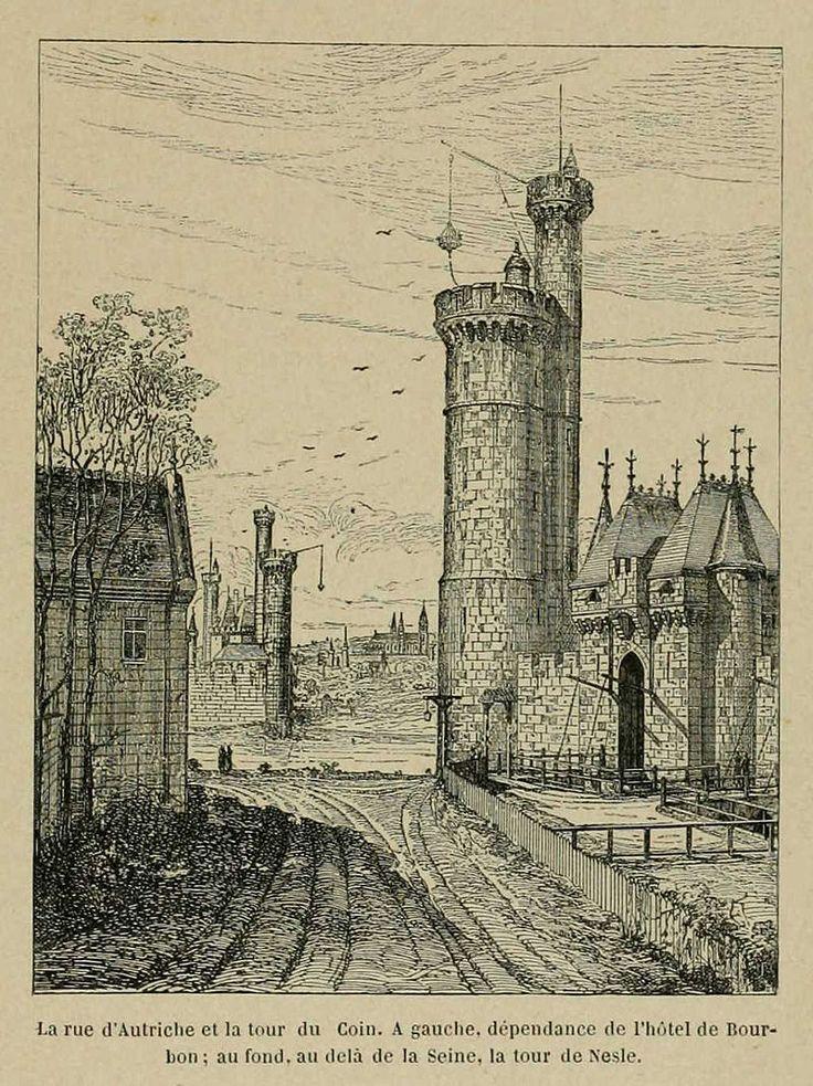 Paris 1er - La rue d'Autriche au XIIIe siècle (Louvre). Elle suivait le chemin de ronde du côté de l'intérieur de l'enceinte de Philippe Auguste. A gauche, l'Hôtel Bourbon. En face, de l'autre côté de la Seine, la porte et la tour de Nesle, l'abbaye de Saint-Germain des Prés. A droite, la tour du Coin et la porte du Louvre avec son pont-levis.