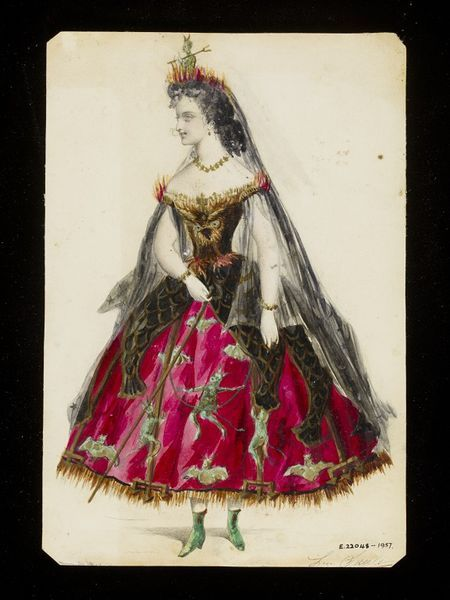 """This design was created by Leon Sault.  The deep crimson crinoline skirt is decorated with cavorting demons climbing up pitchforks and swinging from ropes, and bats in flight, with an overskirt shaped and patterned to suggest a black lizard skin with gilded scales. An owl in flight forms the wearer's bodice, and her headdress is a devil with horns and a pitchfork sitting in flames. The costume probably represents Hell, although it could also be """"Nightmare""""."""