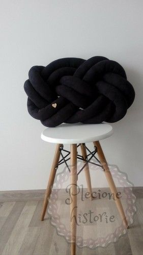 Black suede knot pillow