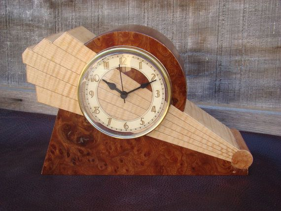 Art+Deco+mantle+clock+with+unique+dial+by+MWBStudios+on+Etsy,+$149.00