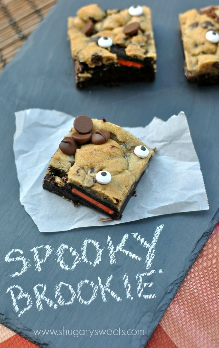 Spooky Brookies- delicious chocolate brownies, Halloween oreos and chocolate chip cookie combine for a spectacular treat. And the eyes for a garnish!
