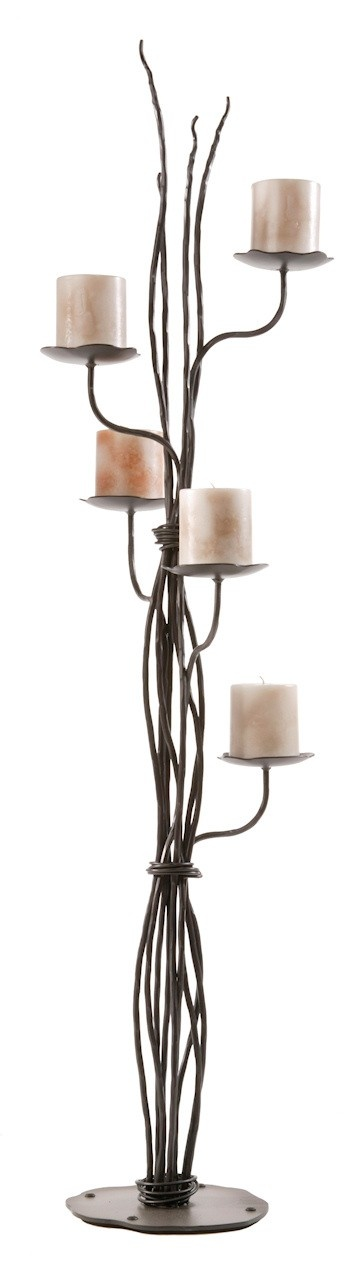 Rush Hand Forged Iron Floor Candelabra