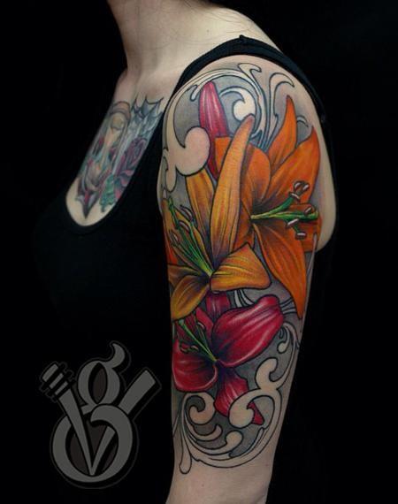 flower arm sleeve tattoos | ... Glahn - lily lilies flower women female color arm halfsleeve tattoo