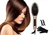 Lotus Hair Straightener Brush with MCH Technology Strraightening LCD Display & Automatic Lock FREE Heat Resistant Glove & 2 Alligator Hair Clips Anion Ceramic Brush Champagne(013-GD)