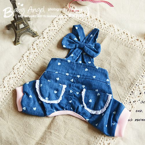 Free shipping!Denim overalls dog clothes Teddy pet clothes dog clothes summer Chihuahua Pet Supplies