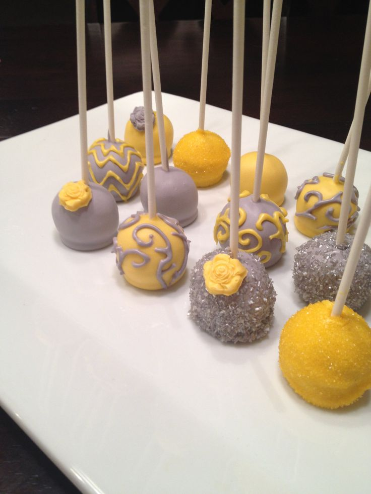 Gray Yellow Pink Wedding Or Baby Shower Cake Pops