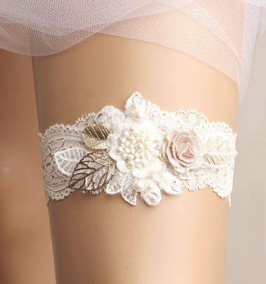dreamy and romantic garter for bride on her wedding day, created with lace, crystal, and flower embellishments, wedding garter bridal garter lace garter white by GadaByGrace