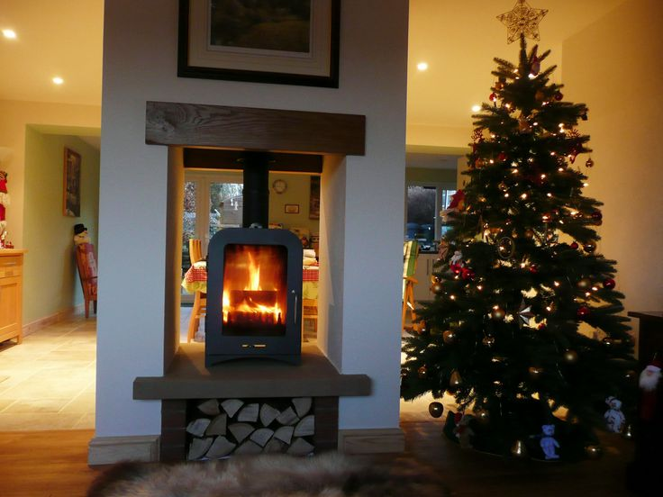 This is one of our fave customer pics. A stunning installation of a Vesta V8 Double sided stove at Christmas http://www.vestastoves.co.uk/shop/vesta-v8-double-sided-woodburning-stove