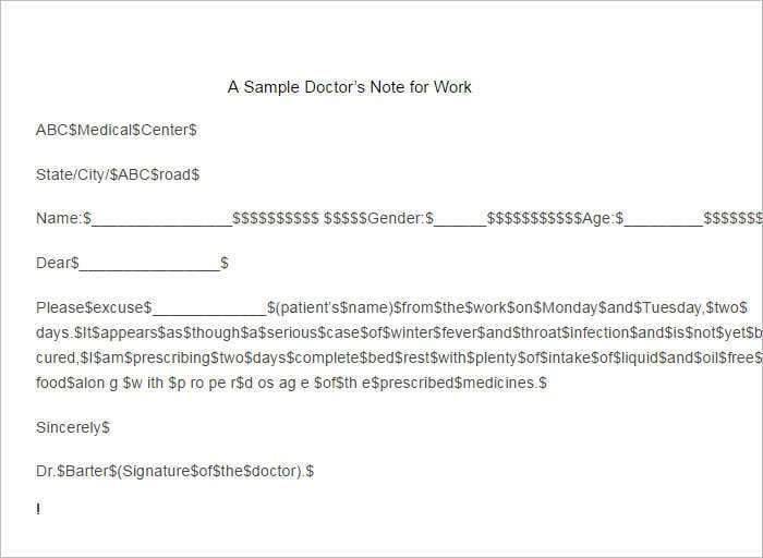 5 Doctors Note For Work Templates Doctors Note Cover Letter