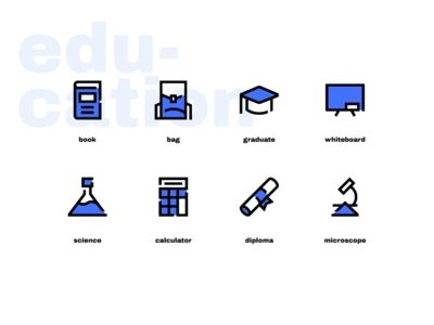 Education Icons In Blue Filled Style