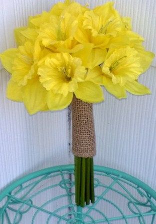 Daffodil Bouquet Yellow Bouquet Yellow by SilkFlowersByJean, $65.00