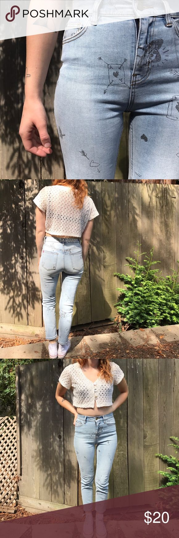 BDG High wasted light wash graffiti jeans These are super unique with little sketches on them, super cute for summer and slightly stretchy. Urban outfitter BDG high rise skinny graffiti jeans BDG Pants Skinny
