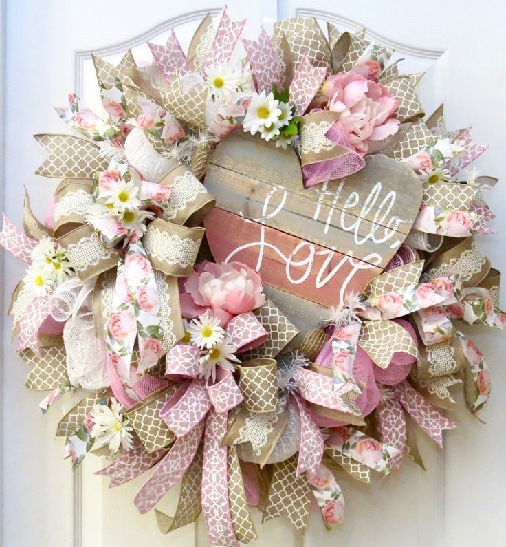 Valentine Wreath, Heart Wreath, Valentine's Day Wreath, Deco Mesh Valentine Wreath, Valentine Decor, Love Wreath, Valentine Gift, florals by PinkBluebonnet on Etsy https://www.etsy.com/listing/490625924/valentine-wreath-heart-wreath-valentines