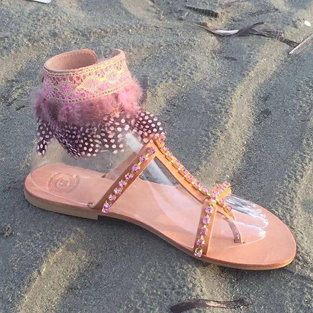 "Greek Leather sandals with Precioza crystals ""SELENE"""