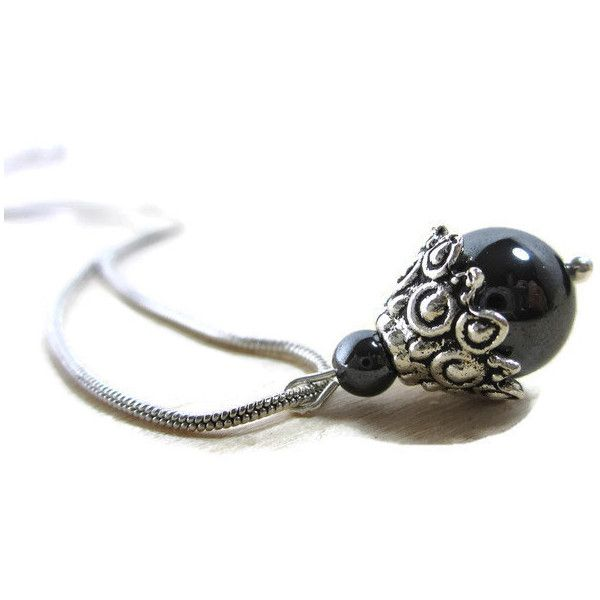 Charcoal gray hematite silver pendant necklace. TAGT aGiftofLaughter... ($20) ❤ liked on Polyvore featuring jewelry and grey