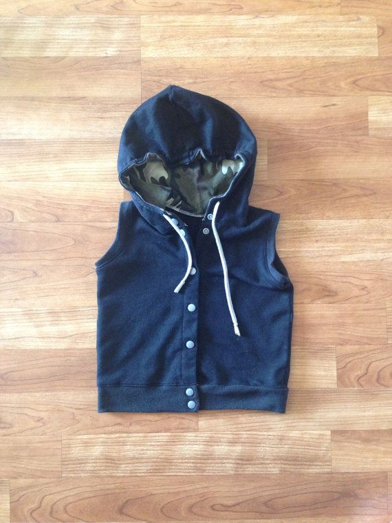 Black and Camo Sleeveless Hoodle hipster baby vest by Nooches