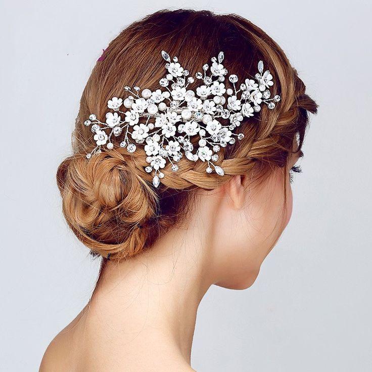 Новое поступление цветочные свадебные аксессуары для волос клип расческа головной убор перл кристалл тиара женщины головные уборы купить на AliExpress