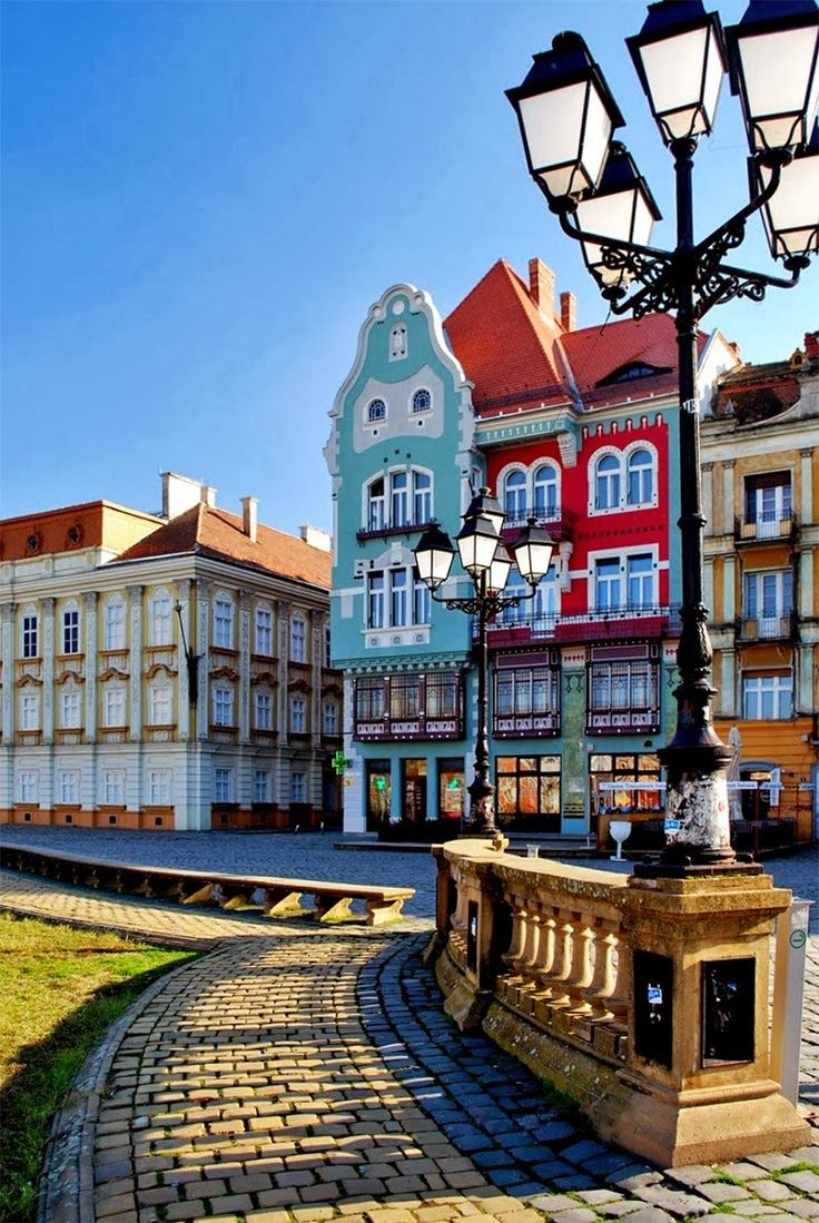 Part of the second large baroque square in the world Timisoara, Romania. romaniasfriends.com