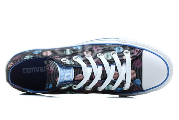 Converse Women Multi Color Polka Dotted Stripes Low Tops Black Chuck Taylor All Star Canvas Sneakers #converse #shoes