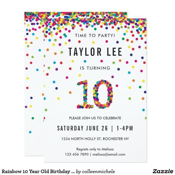 Rainbow 10 Year Old Birthday Party 10th Card Invitations Featuring Your Boy Or