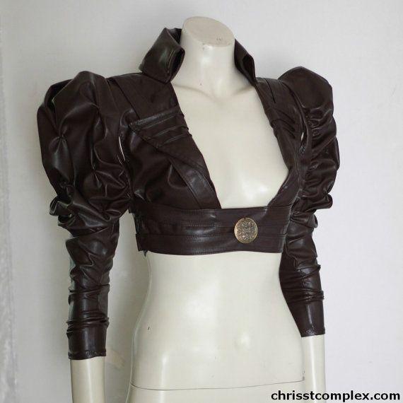 Steampunk Gothic  Bolero Underbust Leather Wedding by chrisst, $298.00