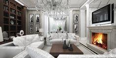 Projekt stylowego salonu z elementami glamour. Więcej na www.artcoredesign.pl .