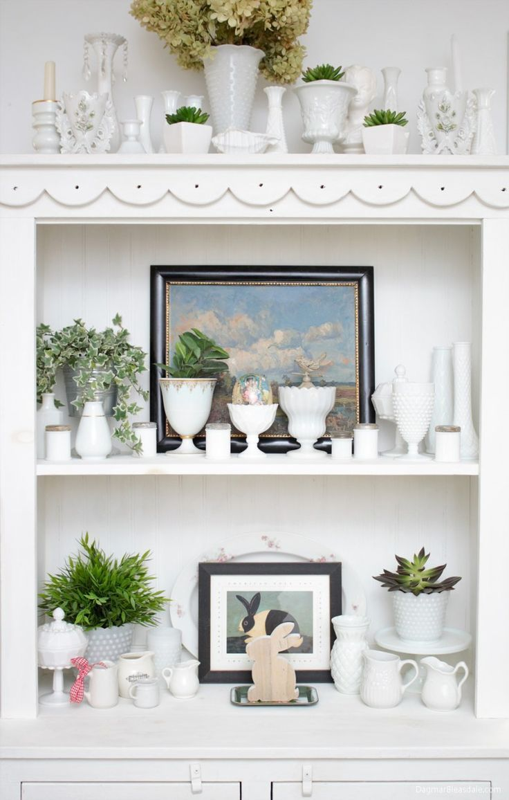 Thrifty Easter and spring cottage and farmhouse decor, white hutch decor idea. Dagmar's Home, DagmarBleasdale.com #DIY #easter #spring #collections #milkglass