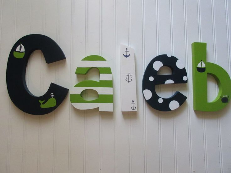 Hanging Nursery Letters Navy Lime Green White Nautical Baby