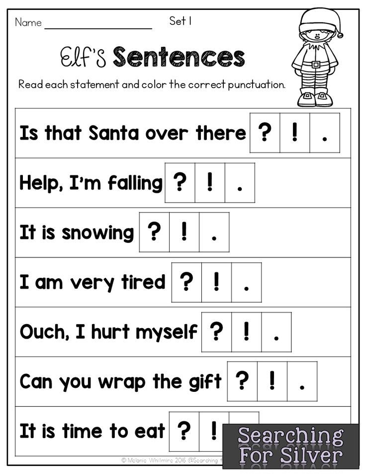 Elf Sentences punctuation! LOTS of fun and engaging NO-PREP math and literacy printables for Christmas!
