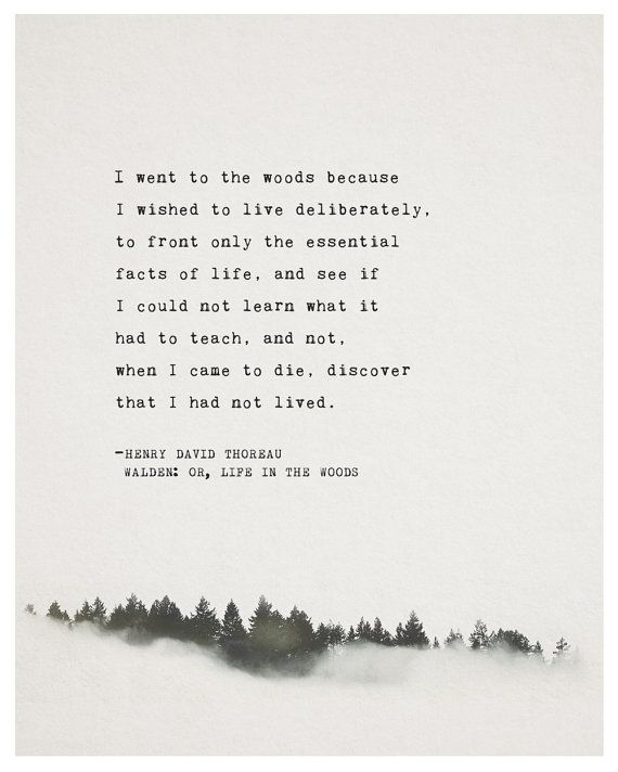 Henry David Thoreaus famous quote from Walden: or Life in the Woods.