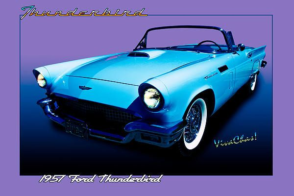 1957 Thunderbird Poster By Chas Sinklier Classic Cars Best Muscle Cars Old School Cars