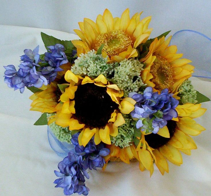 Bridal Bouquet Sunflower silk Flowers Yellow Blue Country Weddings ready ship. $89.00, via Etsy.