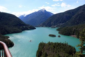 View of Diablo Lake from Scenic Viewpoint Along North Cascades Highway - © Angela M. Brown (2009)