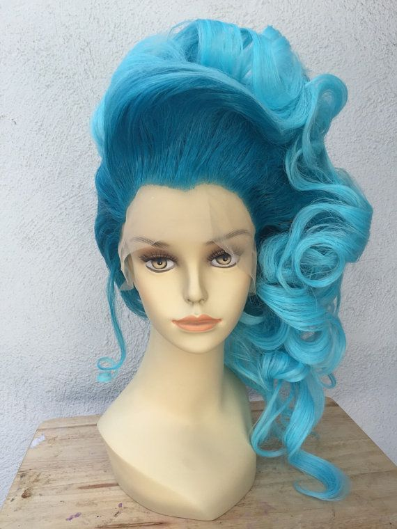 Two Tone Blue Lace Front Drag Queen Costume Wig by littlepennylane